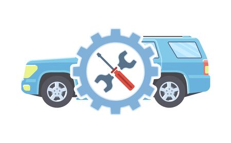 Car service concept. Automobile maintenance repair. Car diagnostics. Vector illustration.