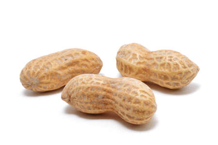 Three Peanuts Isolated on White Zdjęcie Seryjne
