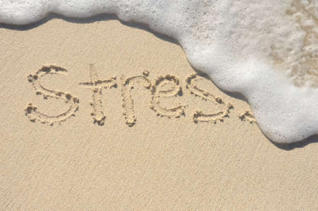 Relieving Stress, the Word Stress Being Washed Away by a Wave on a Beach Banque d'images