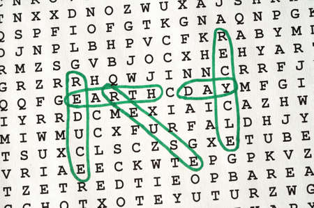 word game:  Earth Day  Word Search Puzzle using Green Ink Stock Photo