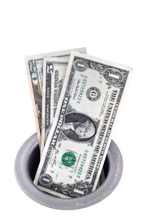 desague: Money Down the Drain aislado en blanco