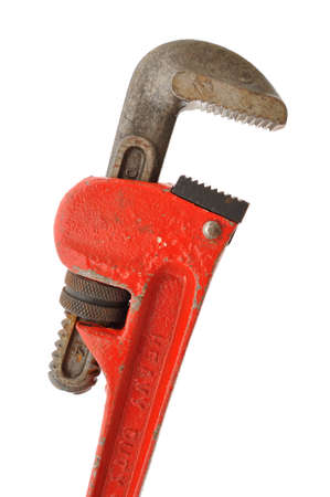 handtool: Pipe Wrench Isolated on a White Background Stock Photo