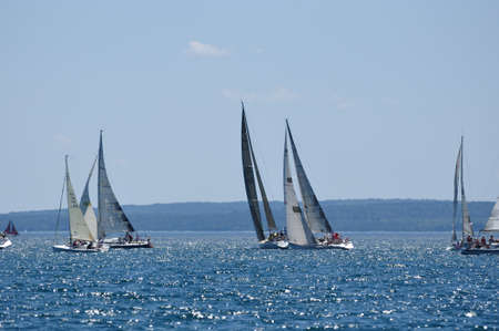 BAYFIELD, WI - July 4: Sailboats Sailing in Annual Bayfield Race Week Competition on Lake Superior on July 4, 2011 near Bayfield, Wisconsin