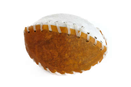 Rawhide Football Pet Chew Toy Isolated on White Imagens