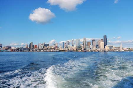 Skyline of Seattle, Washington from Puget Sound photo