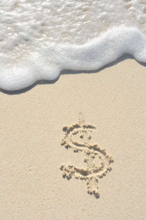 Dollar Sign Drawn in Sand on a Beach Stock Photo - 13423666