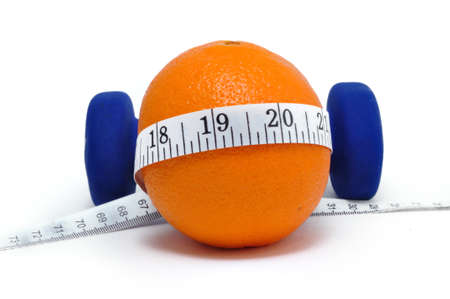 Blue weights, orange, and tape measure isolated on a white background  Banco de Imagens