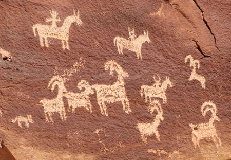 arches national park: Ute Petroglyphs Near Wolfe Ranch in Arches National Park Stock Photo