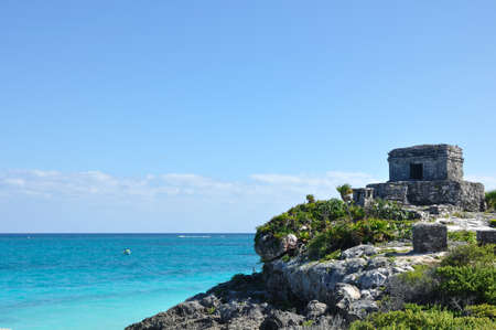 riviera maya: Mayan Ruins at Tulum in Mexico on the Caribbean Sea