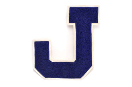 Varsity Letter J Isolated on a White Background