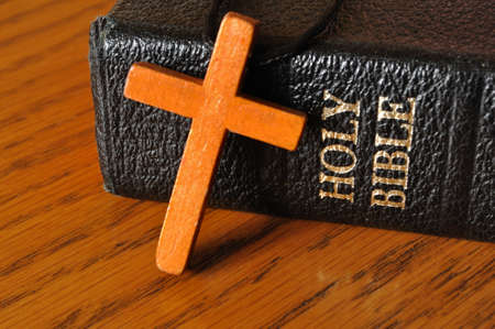 A Wooden Cross on a Bible Reklamní fotografie