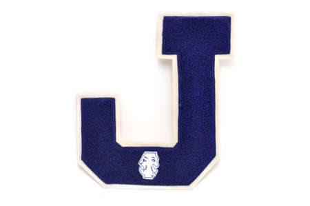Varsity Letter J With Theatre Patch Isolated on a White Background