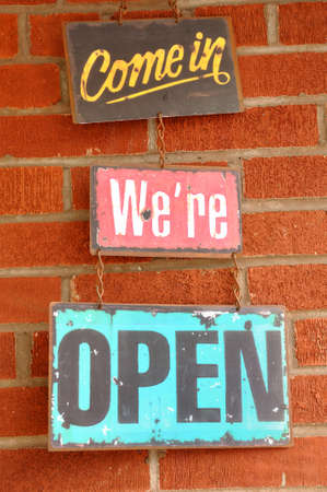 come in: Antique Come in We Are Open Sign Stock Photo