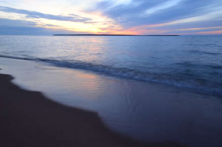 Sand Island Sunset, Apostle Islands Lakeshore in Wisconsin Zdjęcie Seryjne