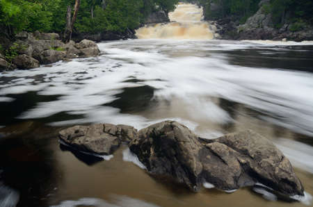 minnesota woods: The Cascades of the Manitou River,  George Crosby Manitou State Park Minnesota Stock Photo