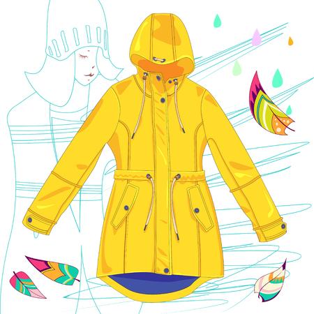 raincoat with rainbow leaves, colorful leaves, rain drops - sign, symbol, illustration. Illustration