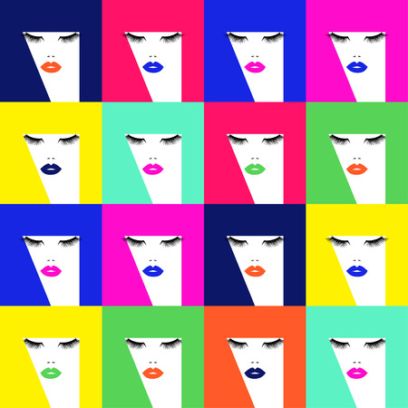Pop art hair pattern with different colors and abstract hair.