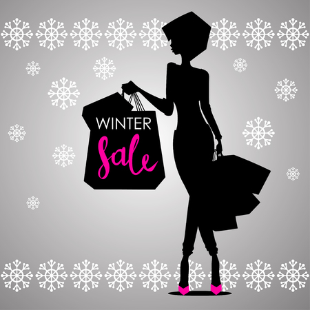 Fashion shopping woman black silhouette in pink high heels with shopping bags with sign Winter Sale advertising with snowflakes background template - vector illustration