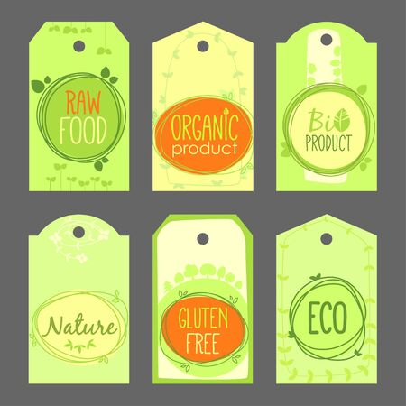 Vector bio, green shop, natural product, gluten free, home grown, vegan, health labels set. Hand drawn stickers and natural elements set.