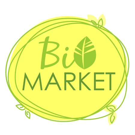 Vector label Bio Market, stamp with yellow background, freehand lines and leaves.