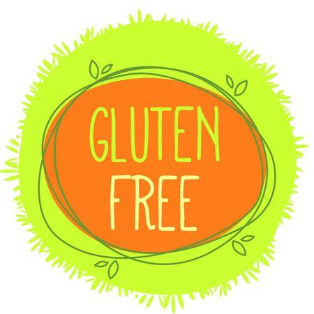 Vector bio label Gluten free, stamp with green grass background.