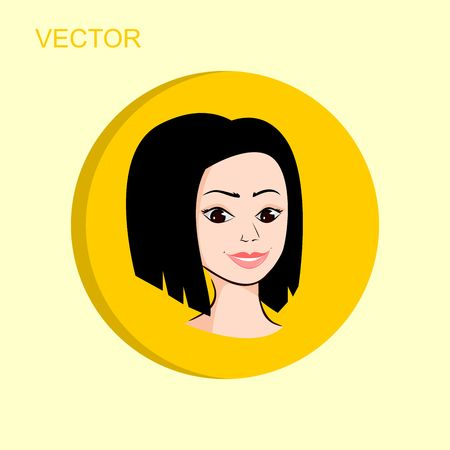 Woman face avatar in yellow circle on light background.