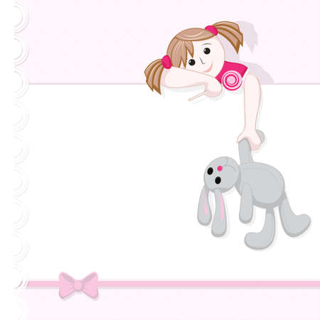 Greeting card with bow, where a girl holding a Lollipop and a toy rabbit Vector
