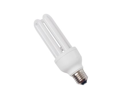 socle: The economic electric bulb of a daylight close up on a white background is isolated Stock Photo