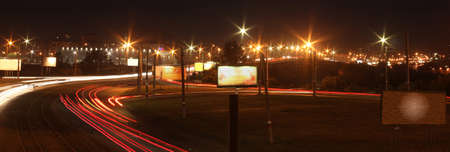 View of night streets in a northern part of Omsk photo