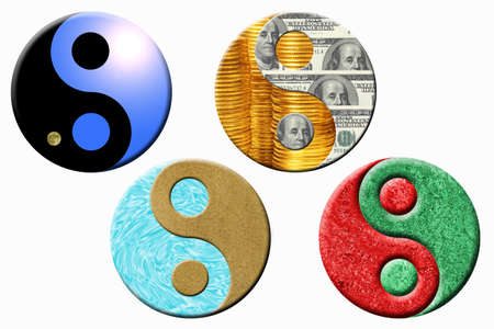 Four yin yang symbols on a white background Stock Photo - 15146657