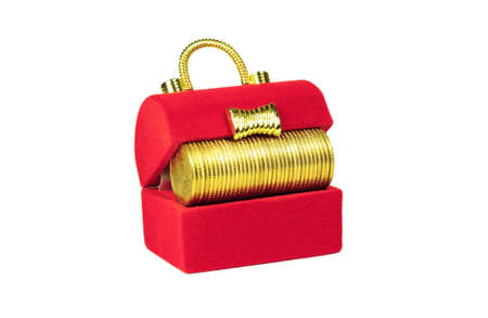 Red chest with yellow coins inside on a white background photo