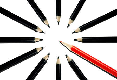 Red pencil among black pencils on a white background Stock Photo - 16898185