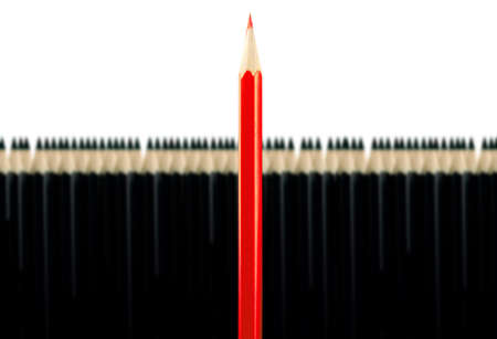 Red pencil among black pencils on a white background Stock Photo - 16898181