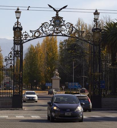 MENDOZA, ARGENTINE, August 06, 2018. Gates of the General San Martin de Mendoza park, The Gates, from 1907 defines the entrance to the Park, General San Martin Park of Mendoza City, MENDOZA.