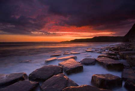 Crimson sunset at Kimmeridge