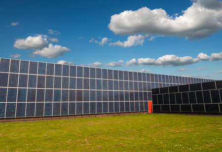 Solar panels cover an entire factory photo