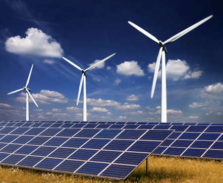 Wind turbines and solar panels photo