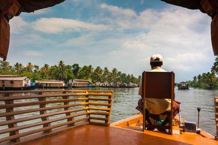 kerala backwaters: The open waterways of the Kerala Backwaters and Ashtamudi Lake Stock Photo