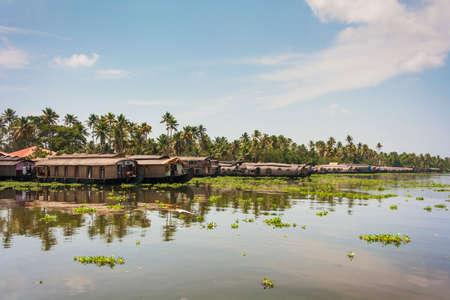 backwaters: The open waterways of the Kerala Backwaters and Ashtamudi Lake Stock Photo
