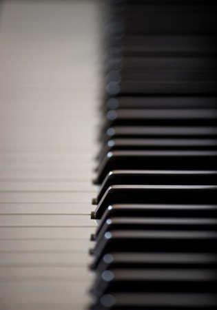 side keys: A set of ebony and ivory piano keys shot side on