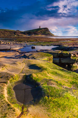 Sunlight illuminates the rocks and pools on the craggy Dorset coastline