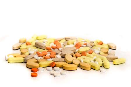 pastillas: Un montón de pastillas y tabletas Foto de archivo