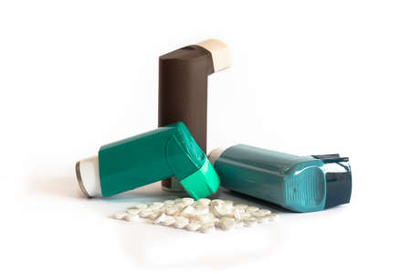 Various Asthma Medications including Inhalers Stock Photo