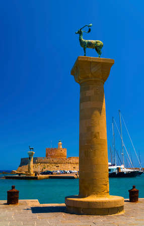 deer stand: Two statues of deer stand where legend has it the Colossus of Rhodes once stood Stock Photo
