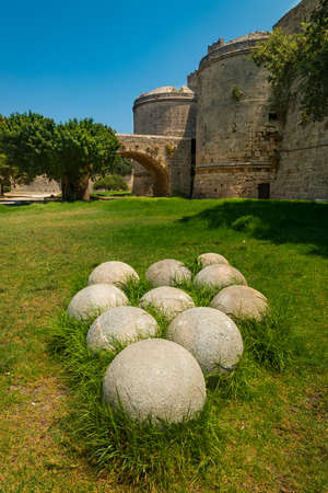 siege: Rhodes Island, Greece. The Palace in the Medieval town came under siege in the middle-ages and multiple 300lb stones were hurled at the walls Editorial