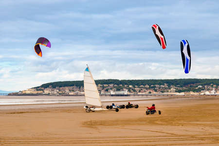 bristol channel: The low tide reveals miles of flat sand and kite buggy drivers and land yacht sailors take advantage of the space and the stiff breeze and whizz up and down the beach