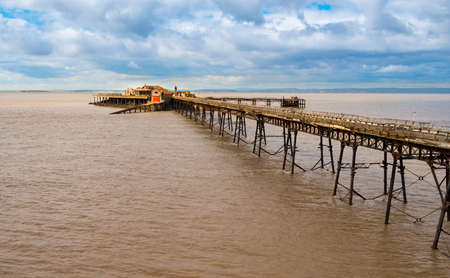 brean: The long-derelict Birbeck Pier stretches out to the Bristol Channel at Weston-super-mare