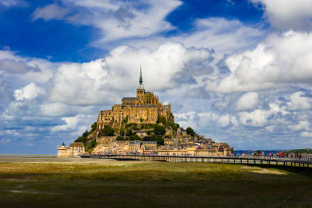One of the most visited tourist spots in the whole of France the medieval monastary island of Mont Saint-Michel dominates the landscape for miles around