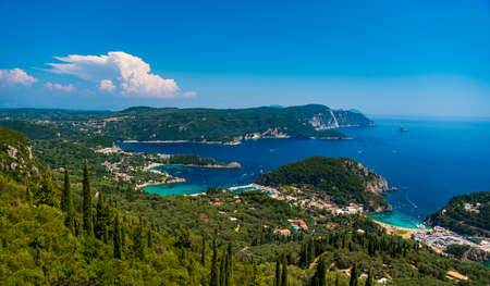 Beautiful view of Palaiokastritsa boats and beach Corfu Greece Stock Photo