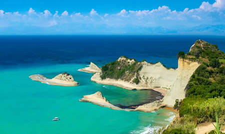 White cliffs  and turquoise seas around the northern coast of Corfu